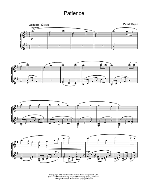 Patience (from Sense And Sensibility) Sheet Music