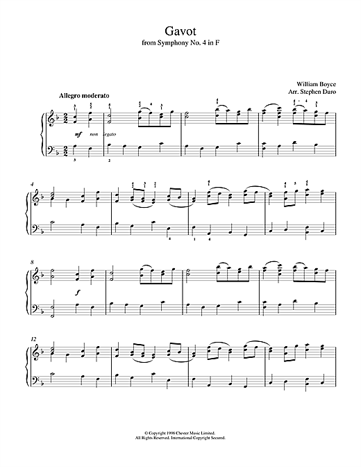 Partition piano Gavot de William Boyce - Piano Voix Guitare