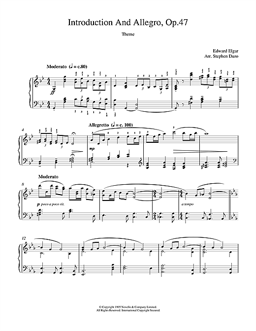 Partition piano Introduction And Allegro opus 47 de Edward Elgar - Piano Solo