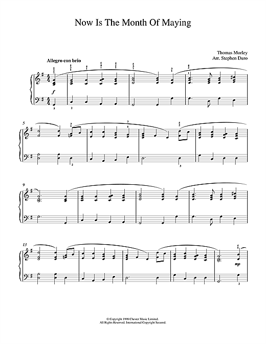 Partition piano Now Is The Month Of Maying de Thomas Morley - Piano Solo