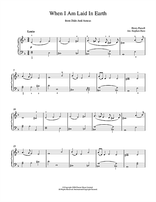 Partition piano When I Am Laid In Earth (from Dido And Aeneas) de Henry  Purcell - Piano Solo