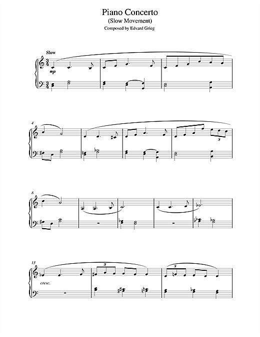 Piano Concerto in G minor (Slow Movement) Sheet Music