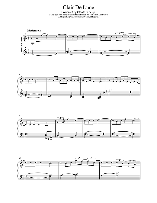 Clair De Lune From Suite Bergamasque Piano Sheet Music By Claude