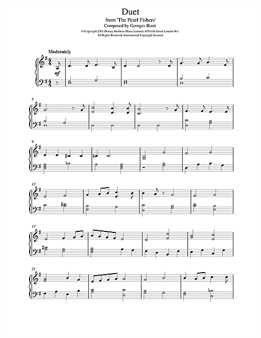 Duet from The Pearl Fishers Sheet Music