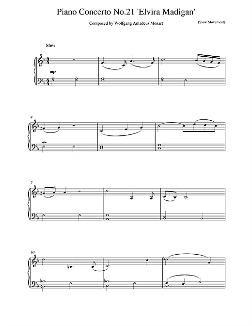Piano Concerto No.21 in C Major (Elvira Madigan), 2nd Movement Excerpt Sheet Music