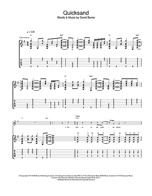 Tablature guitare Quicksand de David Bowie - Tablature Guitare