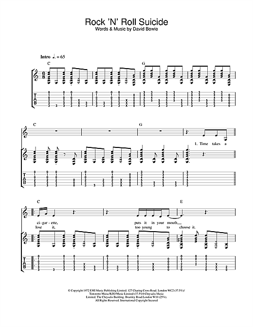 Rock 'N' Roll Suicide Sheet Music