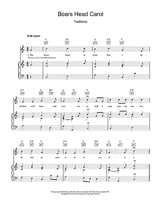 The Boar's Head Carol (Piano, Vocal & Guitar (Right-Hand Melody))