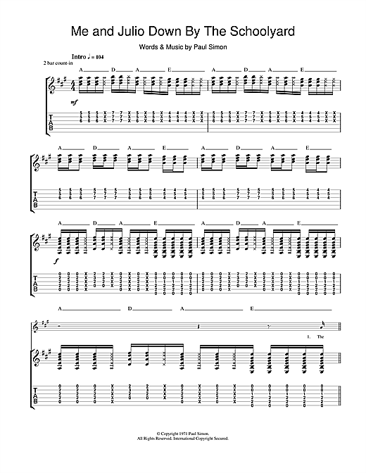 Tablature guitare Me and Julio Down By The Schoolyard de Paul Simon - Tablature Guitare
