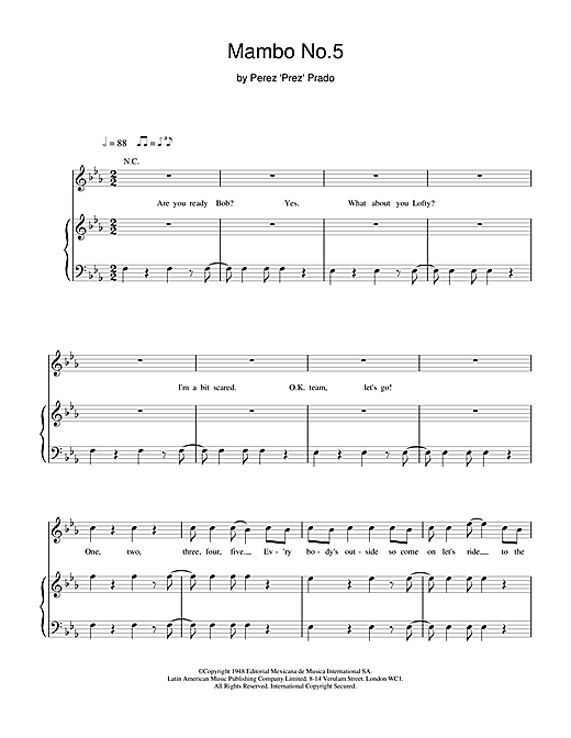 Mambo No. 5 (A Little Bit Of... ) Sheet Music