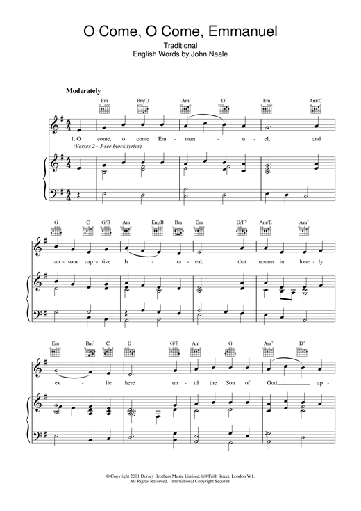 O Come, O Come, Emmanuel Sheet Music