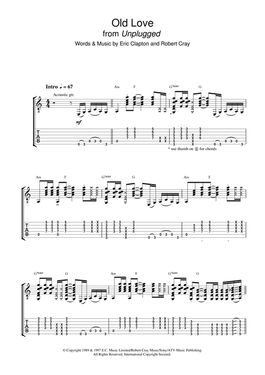 Tablature guitare Old Love (Unplugged) de Eric Clapton - Tablature Guitare