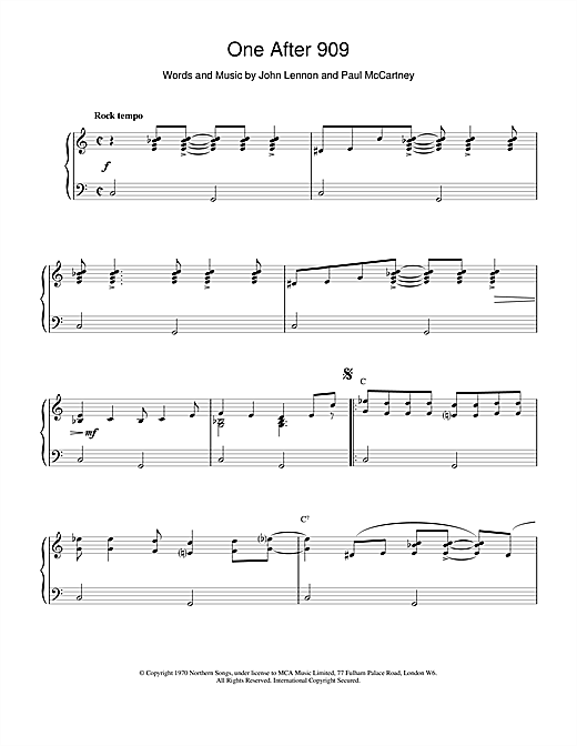 Partition piano One After 909 de The Beatles - Piano Solo