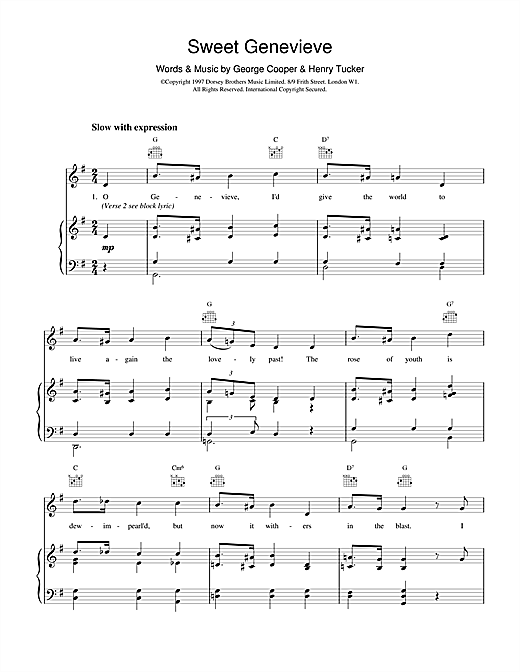 Sweet Genevieve Sheet Music