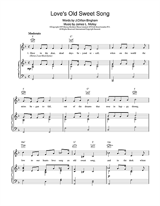 Partition piano Love's Old Sweet Song de J. Clifton Bingham and James L. Molloy - Piano Voix Guitare (Mélodie Main Droite)