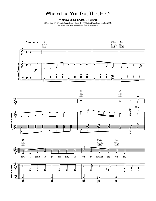 Partition piano Where Did You Get That Hat? de Jos J. Sullivan - Piano Voix Guitare