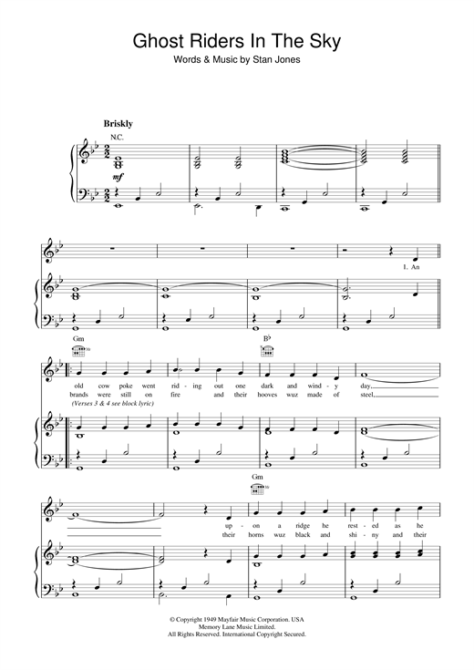 Ghost Riders In The Sky Sheet Music