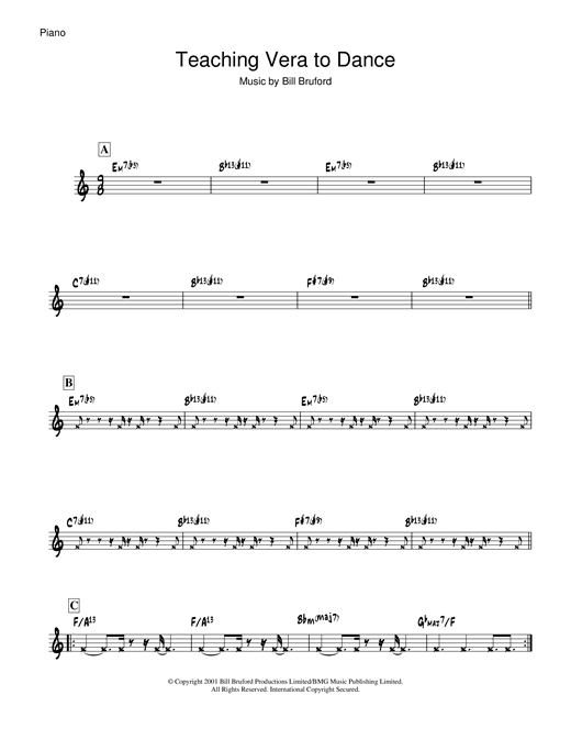 Partition piano Teaching Vera To Dance de Bill Bruford - Piano Solo