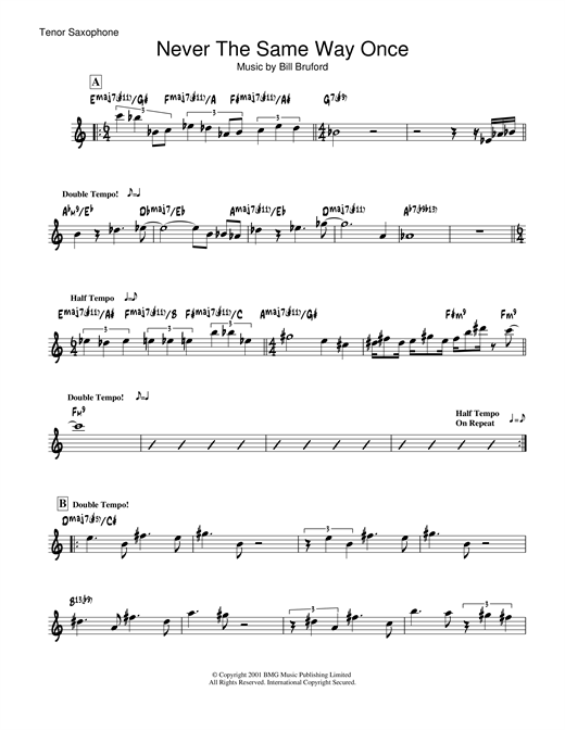 Never The Same Way Once Sheet Music