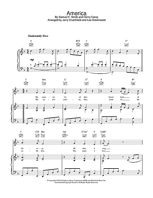 America (Piano, Vocal & Guitar (Right-Hand Melody))