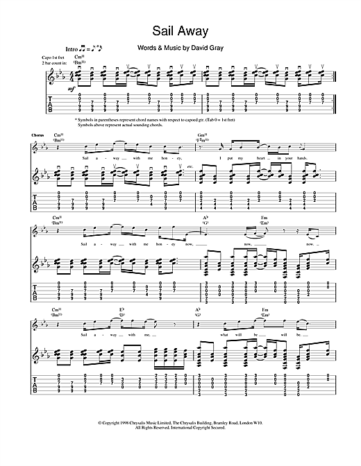 Tablature guitare Sail Away de David Gray - Tablature Guitare
