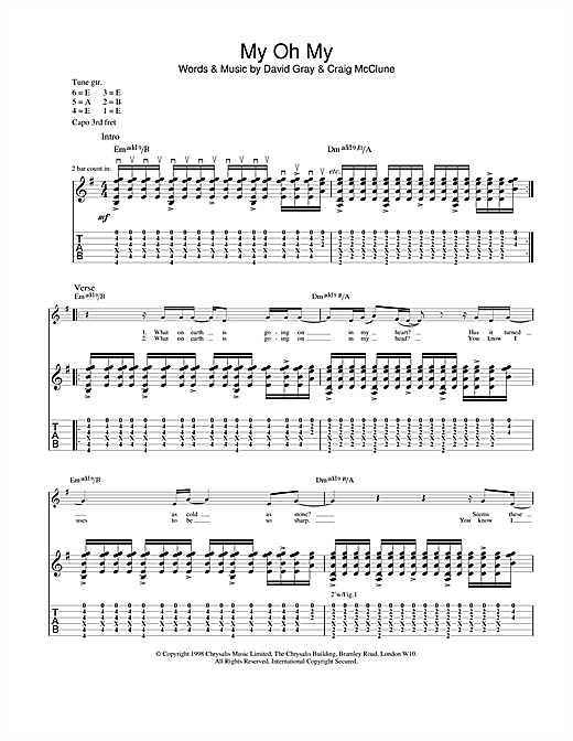 Tablature guitare My Oh My de David Gray - Tablature Guitare