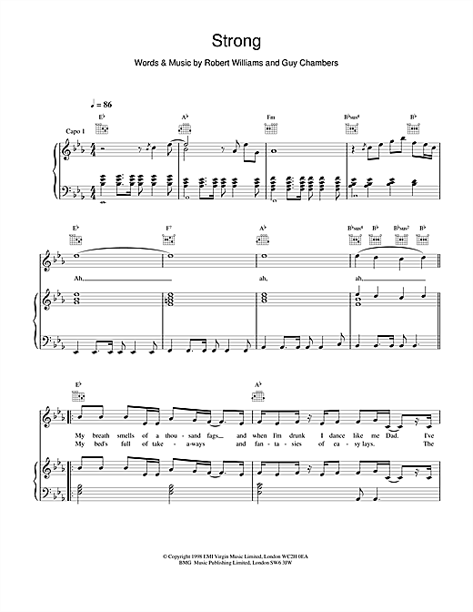 Strong (Piano, Vocal & Guitar (Right-Hand Melody))
