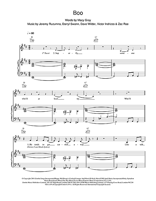 Boo Sheet Music