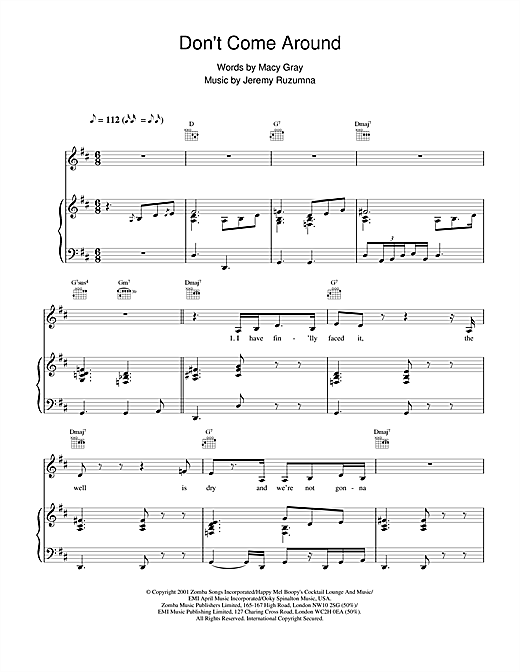 Don't Come Around Sheet Music