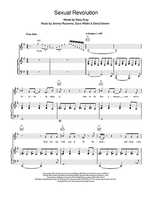 Sexual Revolution Sheet Music