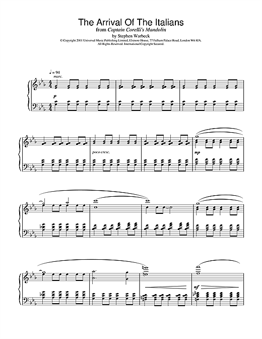 Partition piano The Arrival Of The Italians (from Captain Corelli's Mandolin) de Stephen Warbeck - Piano Solo