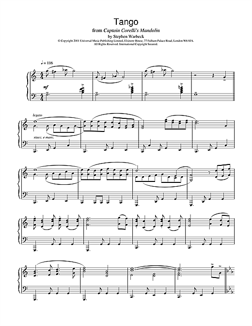 The Tango (from Captain Corelli's Mandolin) Sheet Music