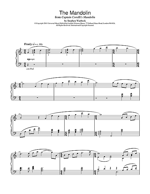 The Mandolin (from Captain Corelli's Mandolin) Sheet Music