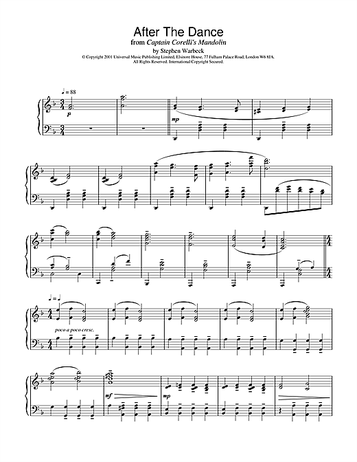 Partition piano After The Dance (from Captain Corelli's Mandolin) de Stephen Warbeck - Piano Solo