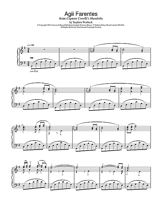Partition piano Agii Fanentes (from Captain Corelli's Mandolin) de Stephen Warbeck - Piano Solo