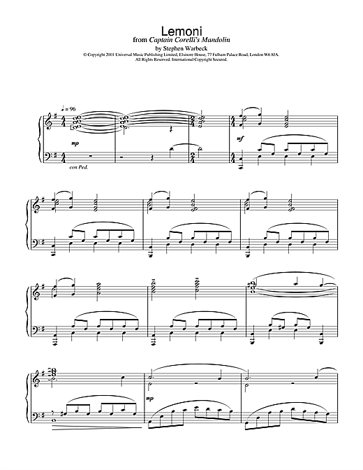 Lemoni (from Captain Corelli's Mandolin) Sheet Music