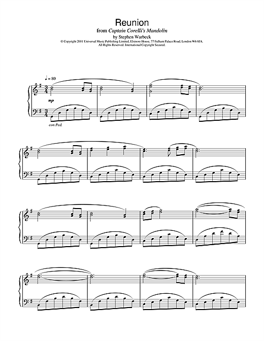 Reunion (from Captain Corelli's Mandolin) Sheet Music