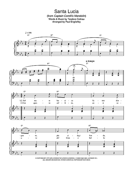 Santa Lucia (from Captain Corelli's Mandolin) Sheet Music