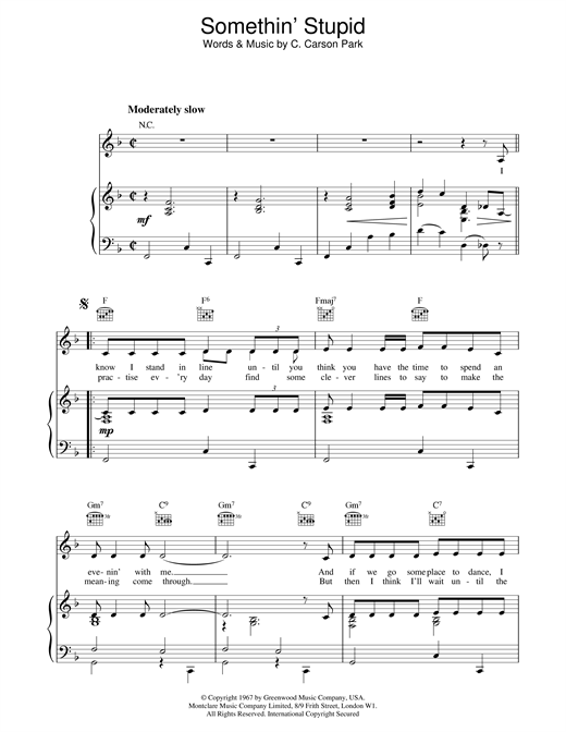 Somethin' Stupid Sheet Music