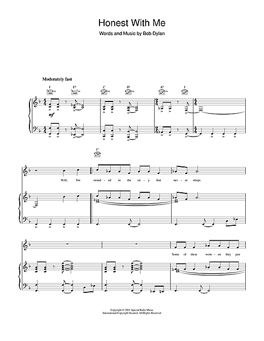 Honest With Me Sheet Music