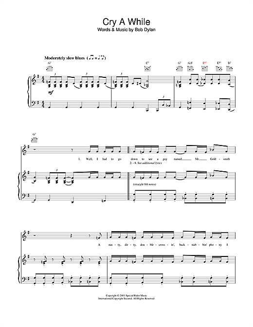 Cry A While Sheet Music