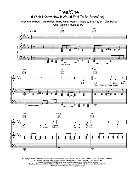 Free/One (I Wish I Knew How It Would Feel To Be & One) Sheet Music