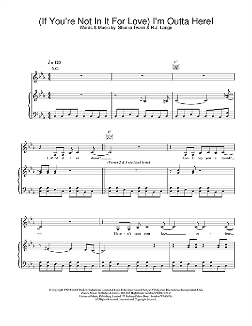 (If You're Not In It For Love) I'm Outta Here! Sheet Music