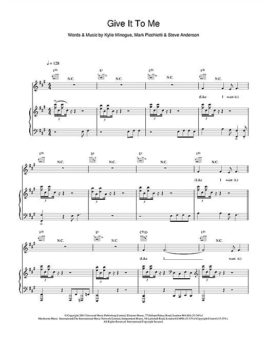 Give It To Me Sheet Music