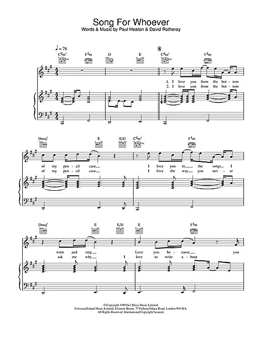 Song For Whoever Sheet Music
