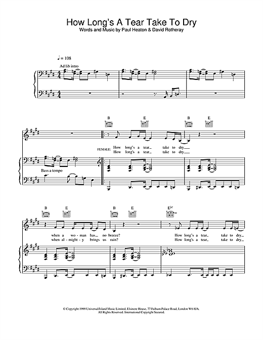 Partition piano How Long's A Tear Take To Dry? de The Beautiful South - Piano Voix Guitare