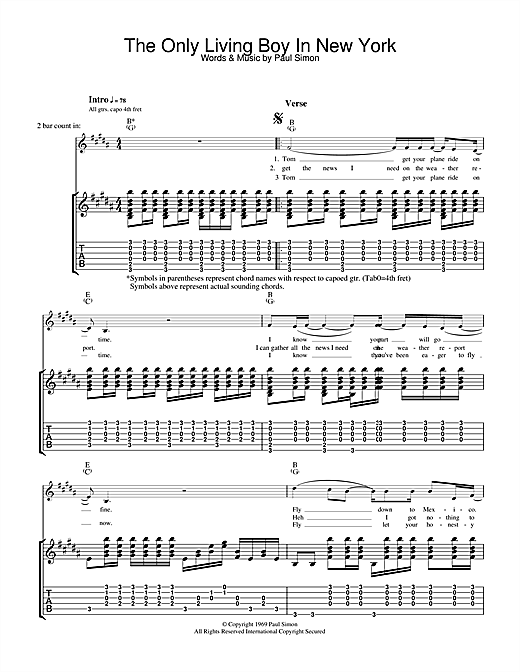 Tablature guitare The Only Living Boy In New York de Simon & Garfunkel - Tablature Guitare