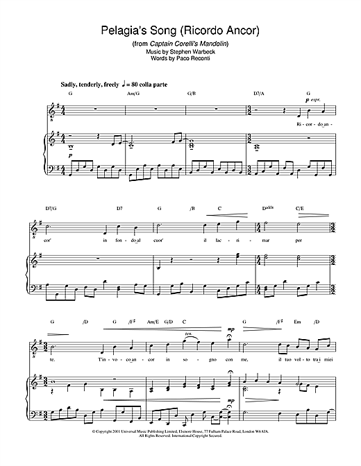 Partition piano Pelagia's Song (Ricordo Ancor) (from Captain Corelli's Mandolin) de Stephen Warbeck - Piano Voix Guitare