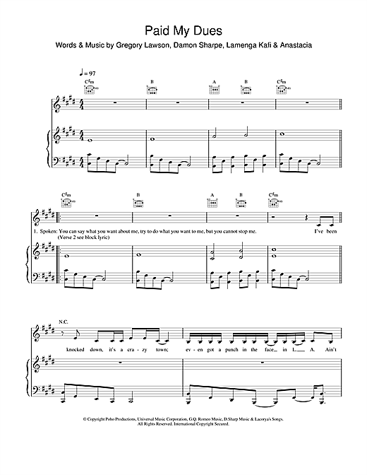 Partition piano Paid My Dues de Anastacia - Piano Voix Guitare