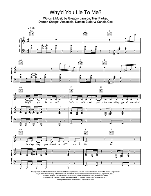 Why'd You Lie To Me? Sheet Music